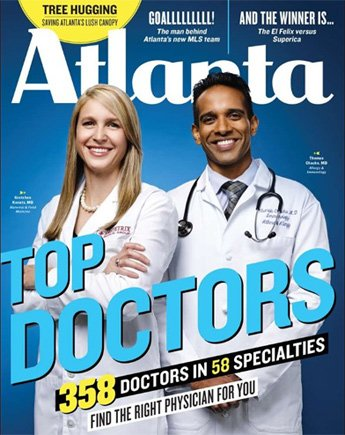Dr. Chacko on the Atlanta magazine cover as a top doctor